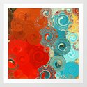 Red and Teal Abstract Swirls Art Print