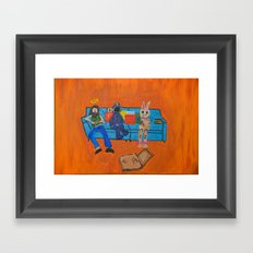 Couch Pizza  Framed Art Print