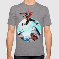 Deadpool Jumps... Mens Fitted Tee Tri-Grey SMALL