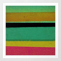 Stripes On Aqua Art Print