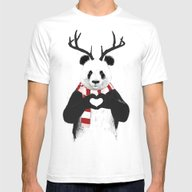 Xmas Panda Mens Fitted Tee White MEDIUM