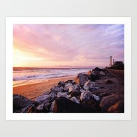 Vibrant Sunset over the Stacks at Huntington Beach, California Art Print