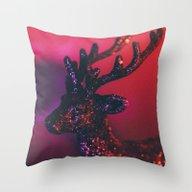 Glittering Deer Throw Pillow