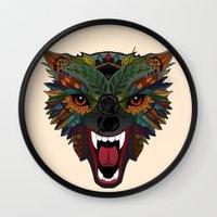 wolf fight flight ecru Wall Clock