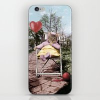Pretty little Kitty with a heart balloon iPhone & iPod Skin