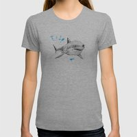 'Sharks & Silhouettes' Womens Fitted Tee Athletic Grey SMALL