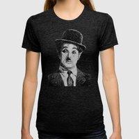 Chaplin portrait - Fingerprint Womens Fitted Tee Tri-Black SMALL