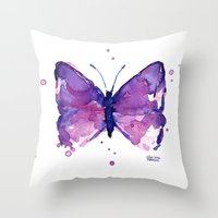 Butterfly Purple Watercolor Throw Pillow