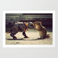 Grimlock vs Munkzilla Art Print
