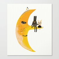 We And Mr. Moon Canvas Print