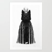 forest Art Prints featuring The Wolf King by Dan Burgess