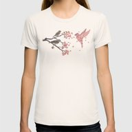 Blossom Bird  Womens Fitted Tee Natural SMALL