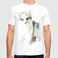 Cloud Cat Mens Fitted Tee White SMALL