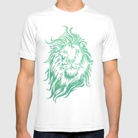 Green Lion Mens Fitted Tee White SMALL