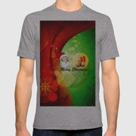 Merry Christmas Mens Fitted Tee Athletic Grey SMALL