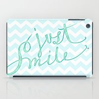 Just Smile - hand lettered calligraphy art print iPad Case
