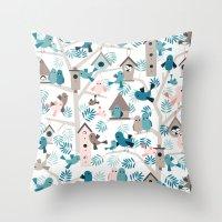 Bird family tree Throw Pillow