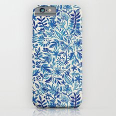 Floating Garden - a watercolor pattern in blue Slim Case iPhone 6s