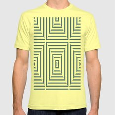 Blue Stripes Mens Fitted Tee Lemon SMALL