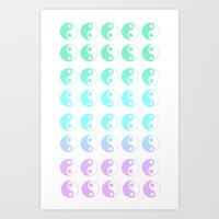 turquoise yin yang gradient Art Print