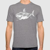 Shark Prank Mens Fitted Tee Tri-Grey SMALL