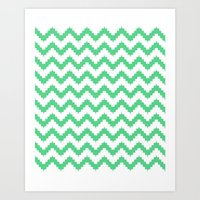 Funky Chevron Mint Patte… Art Print