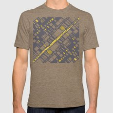 Diagonal Layers Yellow Mens Fitted Tee Tri-Coffee SMALL