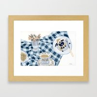 Still life with blueberry pie Framed Art Print