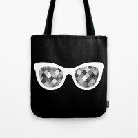 Diamond Eyes White On Bl… Tote Bag