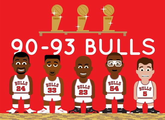 3-Peat Bulls Canvas Print
