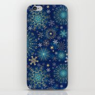 Blue Gold Snowflakes  iPhone & iPod Skin