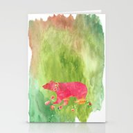 Baer  With Flowers I Stationery Cards