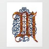 M - Monogram  Art Print