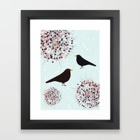 Hawthorn & Blackbird Framed Art Print