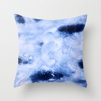 Marbled Water Blue Throw Pillow