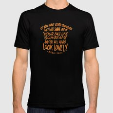 Roald Dahl on Positive Thinking SMALL Black Mens Fitted Tee