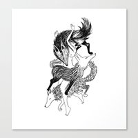 Femme Loup Tattoo Canvas Print