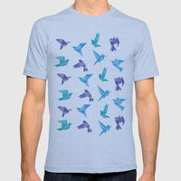 ORIGAMI BIRDS Mens Fitted Tee Athletic Blue SMALL