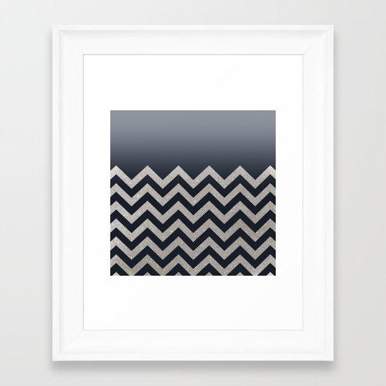 BLACK FADING SILVER CHEVRON Framed Art Print