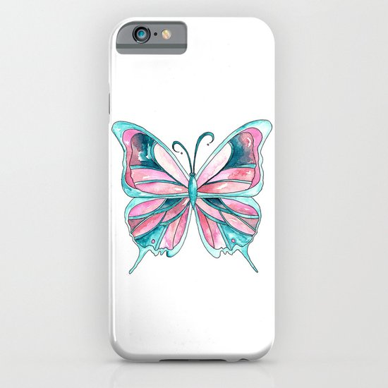 Pink and Blue Watercolor Butterfly iPhone & iPod Case
