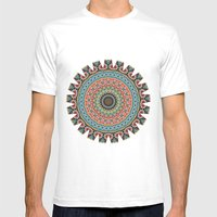 Boho Patchwork-Vintage colors Mens Fitted Tee White SMALL