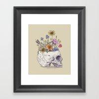 Half Skull Flowers Framed Art Print