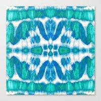 Tie-Dye Twos Aqua Canvas Print