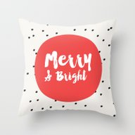 Merry And Bright / Dots … Throw Pillow