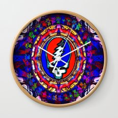 Grateful Dead 'Steal Your Face' Colorful Mandala Psychedelic Skeleton Tapestry Wall Clock