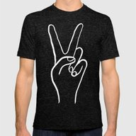 Peace Out Mens Fitted Tee Tri-Black SMALL