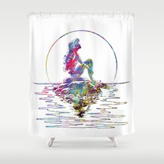 The Little Mermaid Ariel Silhouette Watercolor Shower Curtain