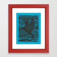 Turquoise Crow Framed Art Print