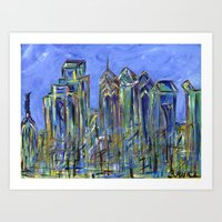 Blue Philadelphia Skyline Art Print