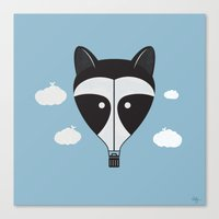 Hot Air Raccoon Canvas Print